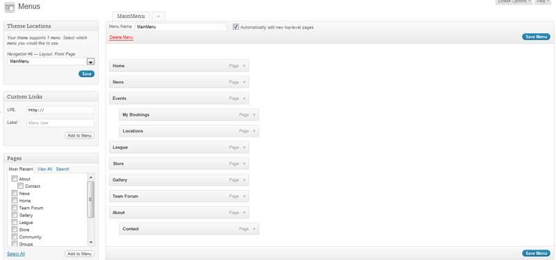 Menu Admin Screen