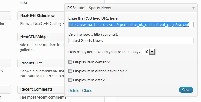 Adding an RSS Widget to Your Site | teamthing